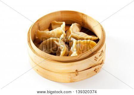 Asian Style Dumpling - Gyoza in Bamboo Steamer