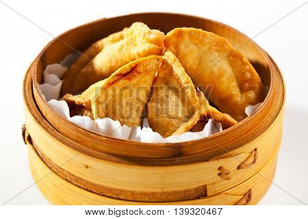 Asian Style Dumpling - Gyoza in Bamboo Steamer