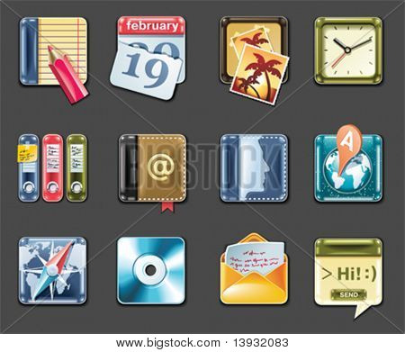 Vector universal square icons. Part 1 (gray background)