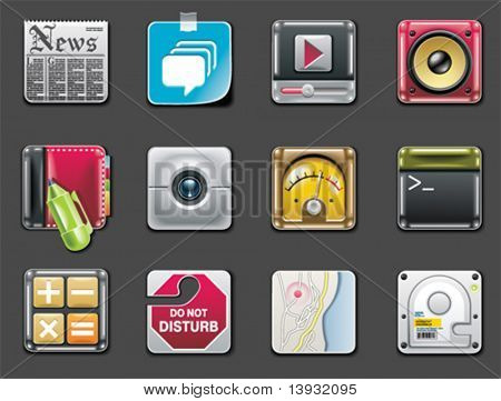 Vector universal square icons. Part 2 (gray background)