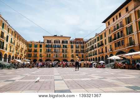 Palma de Mallorca Spain - May 27 2016: Street artists on the market at Placa Major