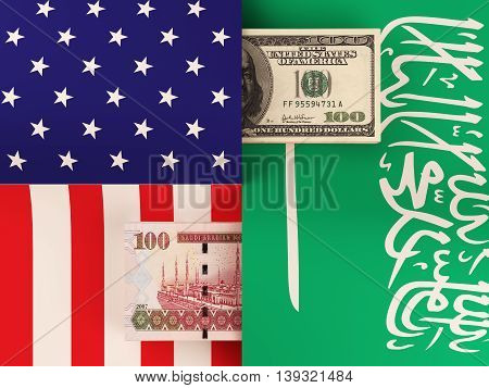 Money transfer between United States and Saudi Arabia. 3d illustration.