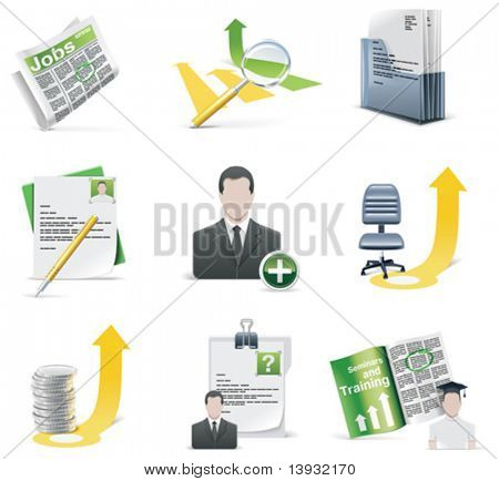 Recrutamento icon set vector