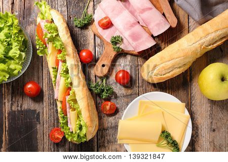sandwich and ingredient