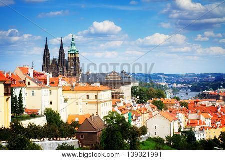 view of Prague from Hradcany district, Czech Republic, toned