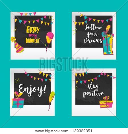 Positive greetings Photo frames. Decorative templates for baby, events or memories. Scrapbook concept, vector illustration