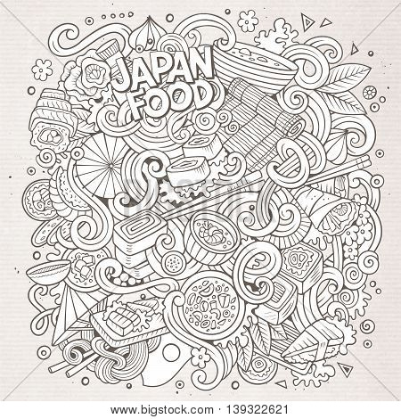 Cartoon cute doodles hand drawn Japan food illustration. Sketchy detailed, with lots of objects background. Funny vector artwork. Line art picture with japanese cuisine theme items