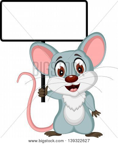 mouse cartoon posing with a blank sign