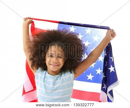 Afro-American girl and American flag, isolated on white