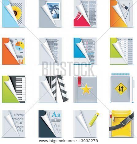 Conjunto de los iconos de archivos y carpetas