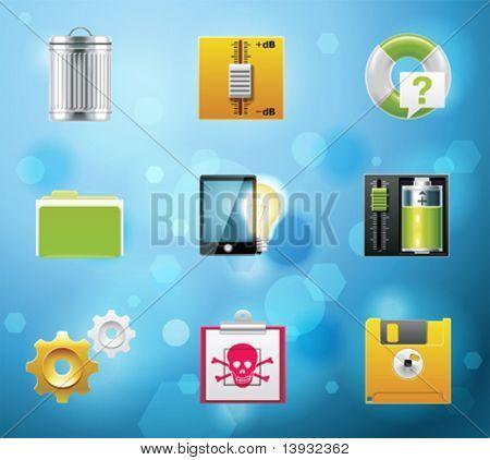 Ícones de aplicativos e serviços de telemóvel típico. Versão 10 EPS. Parte 9 de 10