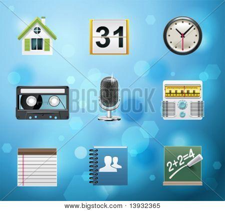 Teléfono móvil normal iconos de aplicaciones y servicios. Versión EPS 10. Parte 2 de 10