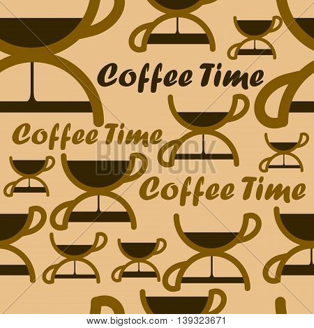 Seamless pattern with coffee time symbol. Vector illustration.