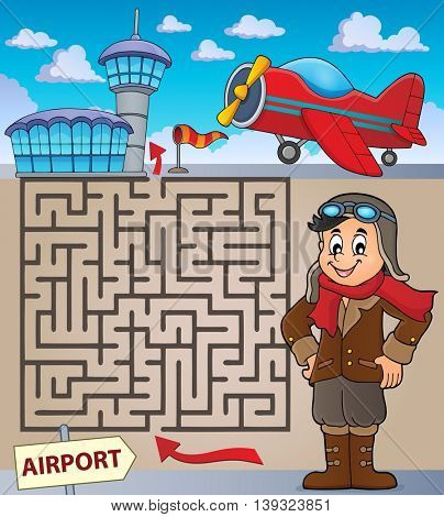 Maze 3 with aviation thematics 1 - eps10 vector illustration.