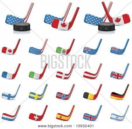 Vektor-Eishockey Stöcke Land Flaggen Icons, Teil2