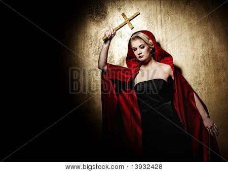 Lady with a golden cross