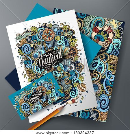 Cartoon cute colorful vector hand drawn doodles Nautical corporate identity set. Templates design of business card, flyers, posters, papers on the table.