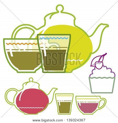 Green tea cup, teapot, glass, flat illustration, set