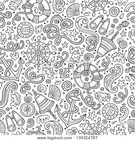 Cartoon cute hand drawn nautical, marine seamless pattern. Line art sketchy detailed, with lots of objects background. Endless funny vector illustration.