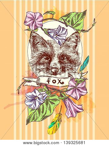 Beautiful hand drawn vector illustration sketching of fox. Boho style drawing. Use for postcards, print for t-shirts, posters, tattoo