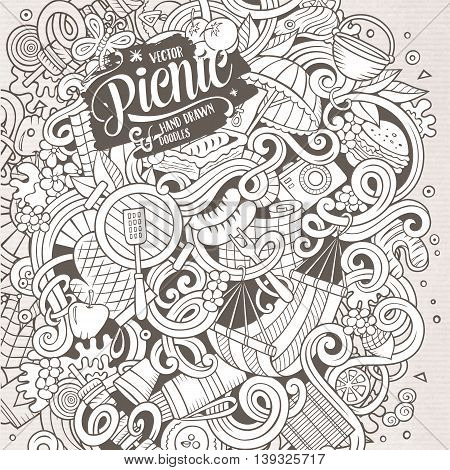 Cartoon cute doodles hand drawn picnic frame design. Line art detailed, with lots of objects background. Funny vector illustration. Sketchy border with nature theme items