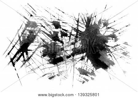 Set of watercolor blobs - Abstract black watercolor texture. Hand painted ink spot. Black Stain isolated over white. High resolution