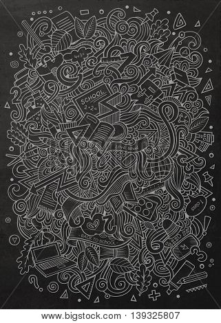 Cartoon vector hand-drawn Doodle on the subject of education. Chalkboard design background with school objects and symbols.