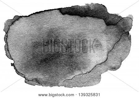 Hand drawn watercolor black stain - abstract watercolour spot ink for your design isolated on white background. High resolution