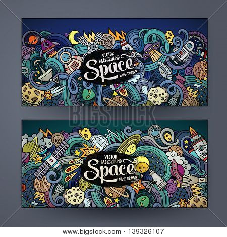vCartoon cute colorful vector hand drawn doodles space corporate identity. 2 horizontal banners design. Templates set
