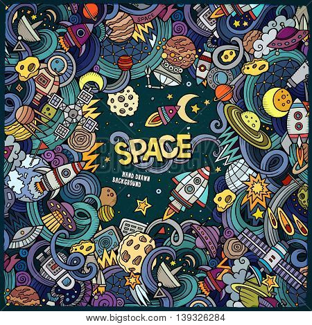 Cartoon cute doodles hand drawn space illustration. Colorful detailed, with lots of objects background. Funny vector artwork. Picture with cosmic theme items. Square composition