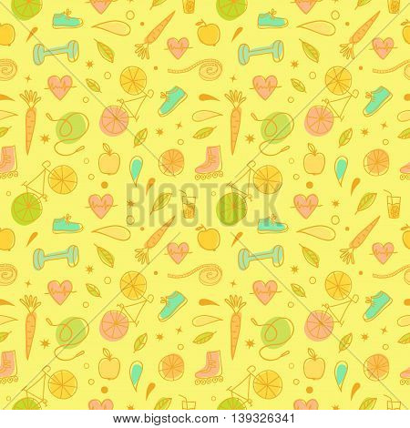 Healthy lifestyle doodle seamless pattern on white background. Vector hand drawn colorful elements including food sport equipment and health symbols for your design.