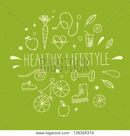 Healthy lifestyle doodle set with title on green background. Vector hand drawn elements including food sport equipment and health symbols for your design.