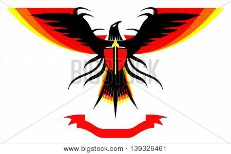 Eagle, falcon with the extended colorful wings and the ribbon at the bottom