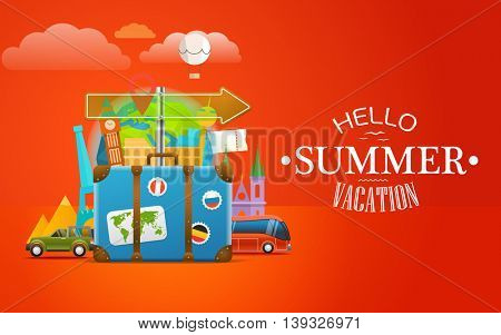 Vacation travelling concept. Vector travel illustration with the bag. Hello summer vacation
