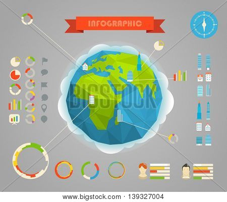 Infographic elements template. Statistic information of different countries. City set