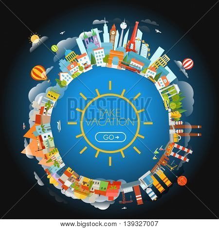 The Earth and different locations. Travel concept vector illustration. Take vacation