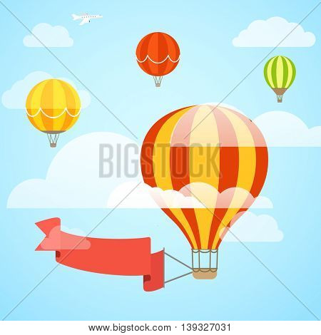 Flying color ballon with the banner. Template for a text