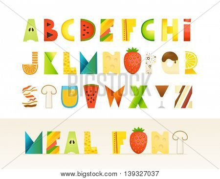 Different food colorful creative Alphabet. Isolated letters on white