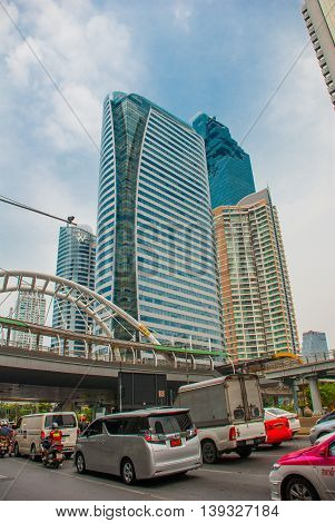 Bangkok Cityscape, Business District. Skyscrapers. The Road With Cars. Thailand