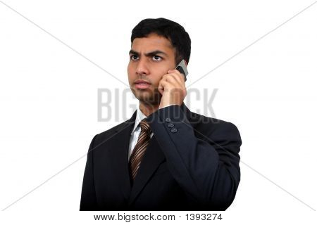 Indian Business Man Using Cellphone (3) With Clipping Path