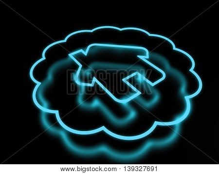 3d render neon home icon isolated on black background. 3D illustration