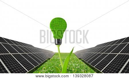 Solar panels with lightbulb on plant .Clean energy.