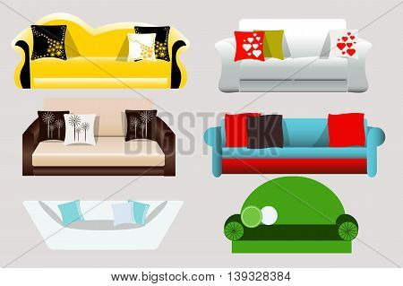 Set of 6 sofas for interior of apartments, offices, furniture, vector illustration