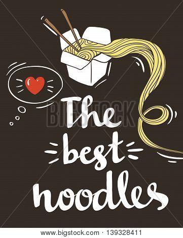 Hipster Noodle doodles Backgroundhand drawing style.Vector illustration.