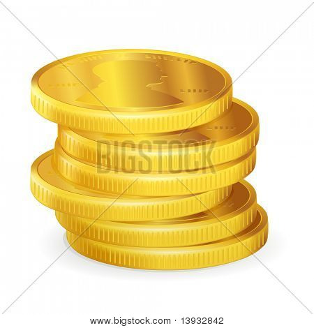 Stacks of gold coins, vector