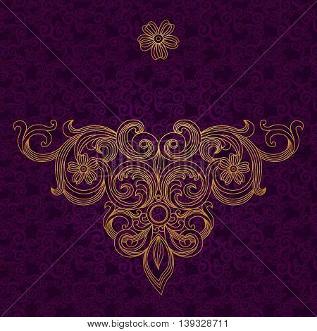 Vintage ornate pattern with place for your text. Dark Victorian background. It can be used for decorating of wedding invitations greeting cards decoration for bags and clothes.