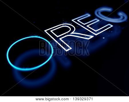 Record neon sign isolated on black background. 3D illustration
