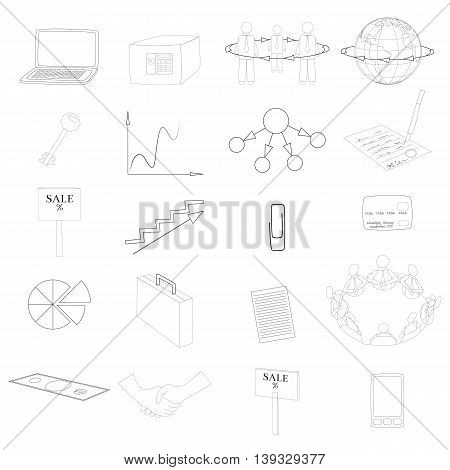 Set with 20 Business Contour Icons. Office Items and Business Concepts. Vector EPS10