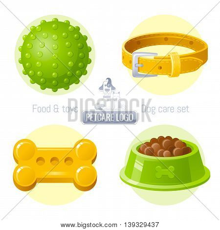 Pet care vector icon set on white background contains toy, collar, food illustrations. Logo design template with abstract cat and dog together for pet shop, veterinary clinic, animal care concept