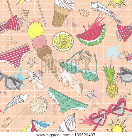 Cute summer abstract pattern. Seamless pattern with swimsuits sunglasses suns ice creams and seashells . Fun pattern for children or teenager girls.summer set